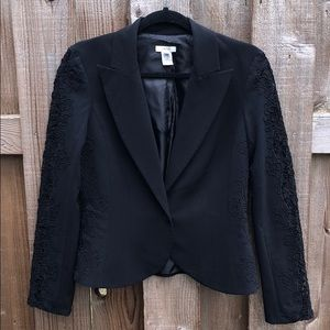 Cache Black Blazer With Crochet Details